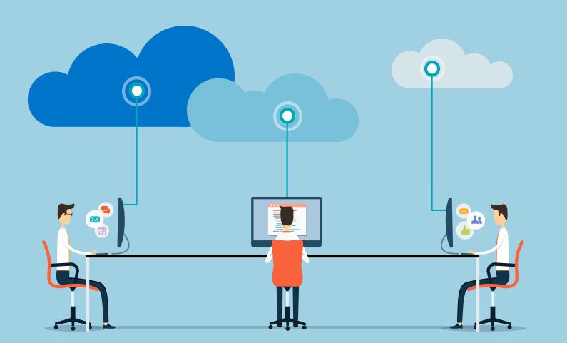 trois hommes au bureau travaillant sur des ordinateurs connectés au cloud
