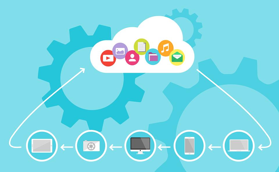 icônes représentant tous les types d'appareils et de fichiers connectés au cloud