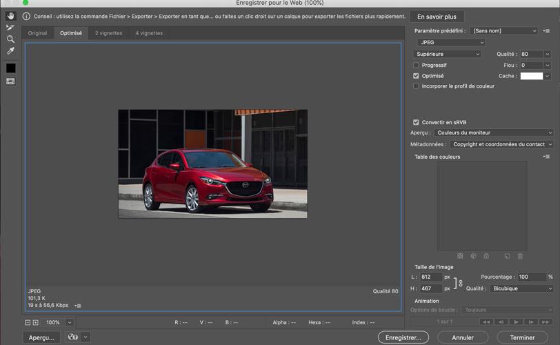 copie d'écran photoshop enregistrer pour le web