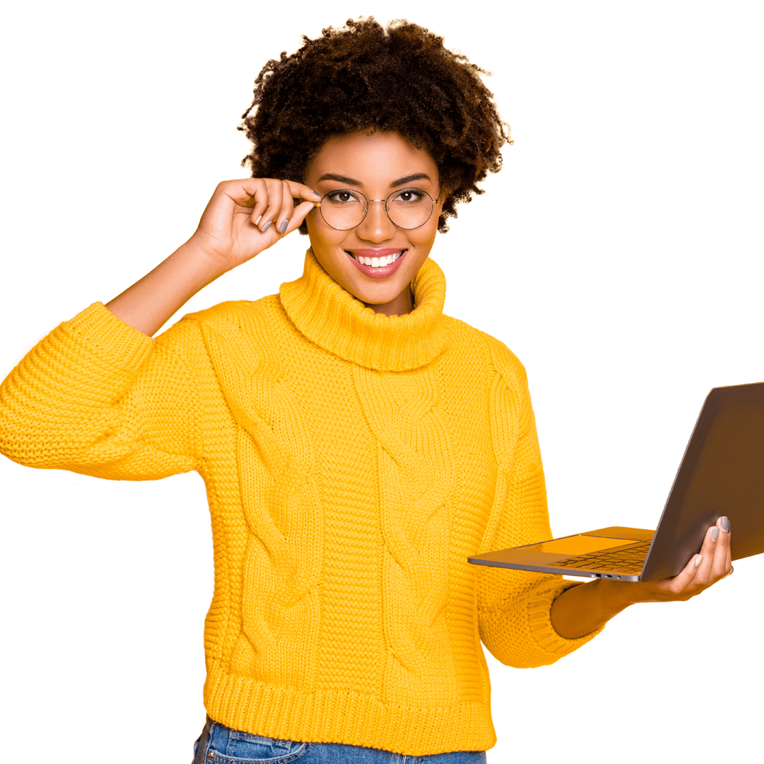 femme ordinateur - agence Présence Web